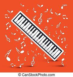 pianoforte, con, note, su, sfondo rosso