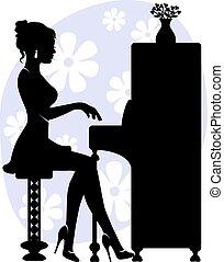 pianoforte, donna, gioco