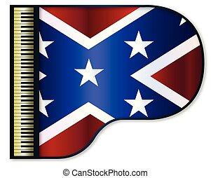 pianoforte, grande, bandiera, confederato