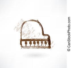 pianoforte, grunge, icona