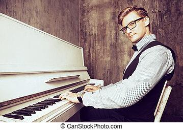 pianoforte - Pianist plays the piano. Art, musical concept.