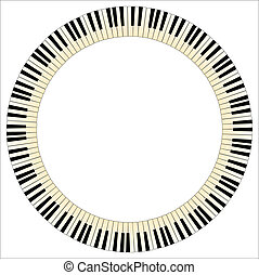 Pianom Keys Circle - Black and white piano keys with a tint...