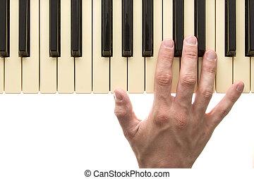 pianotoetsenbord, met, hand