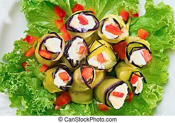 pianta, (aubergine), paprica, imbottito, maionese, uovo, in crosta