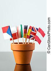 pianta, bandiere, vaso, differente