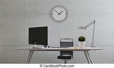 pianta, beffare, su, interpretazione, parete concreta, tavola, pc, schermo, 3d, ufficio