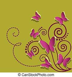pianta, carta, verde, farfalle, fondo