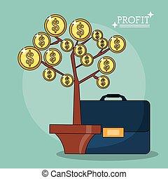 pianta, cartella, colorito, profitto, manifesto, foglie, monete, forma