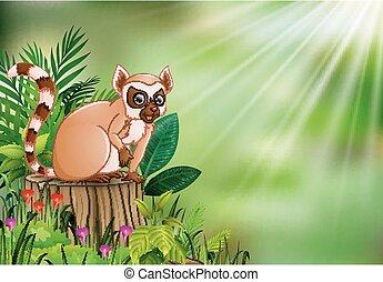 pianta, ceppo, seduta, lemur, albero, cartone animato, verde, fioritura, foglie