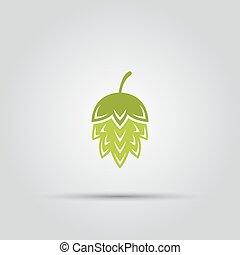 pianta, colorato, isolato, vettore, luppolo, icona