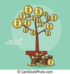 pianta, colorito, profitto, manifesto, foglie, monete, forma
