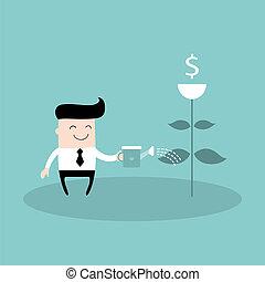 pianta, concetto, affari, successo, irrigazione, dollaro, uomo affari