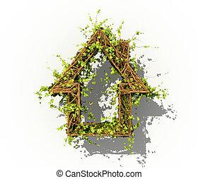 pianta, concetto, forma, house., illustrazione, home., 3d