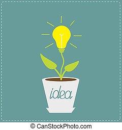pianta, crescente, concept., idea, pot., bulbo, lampada