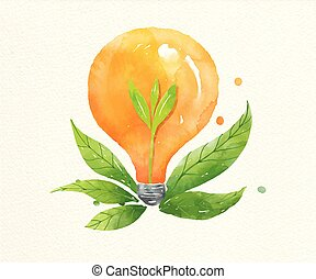 pianta, crescente, energia, bulbo, dentro, spia verde