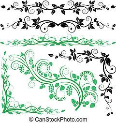 pianta, decorazione, e, angoli