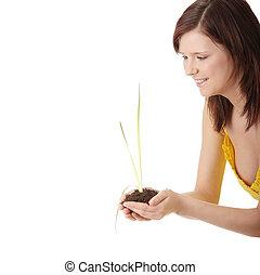 pianta, donna, suolo, giovane, presa a terra, piccolo