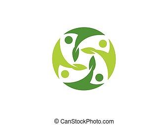 pianta, ecologia, persone, vettore, logotipo, cerchio