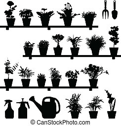 pianta, fiore, silhouette, vaso