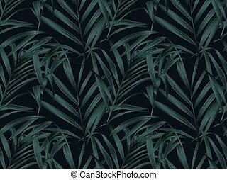 pianta, foglie, seamless, modello, tropicale, palma, fondo, nero