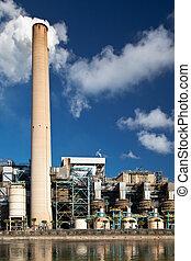 pianta, industriale, ciminiera, potere