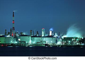 pianta industriale, notte