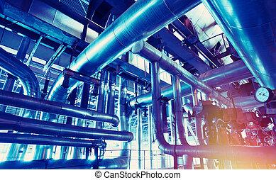 pianta, industriale, potere, dentro, moderno, apparecchiatura, tubatura, fondare, cavi