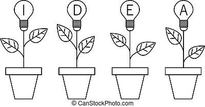 pianta, luce, concept., idea, pot., lampada, crescente, bulbo, linea, design.