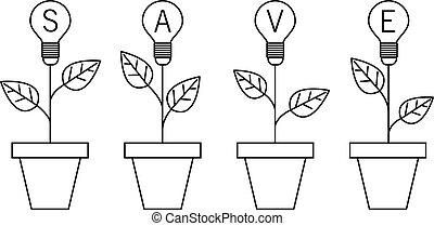 pianta, luce, concept., planet., idea, pot., lampada, crescente, bulbo, risparmiare
