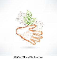 pianta, mano, grunge, icona