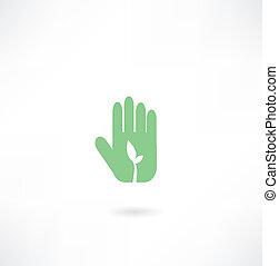 pianta, mano, icona
