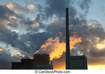 pianta nucleare, tramonto, potere