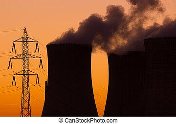 pianta nucleare, tramonto, potere, durante