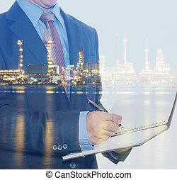 pianta, olio, doppio, raffineria, esplorare, uomo affari