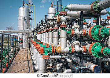pianta, olio, gas, elaborazione