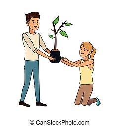 pianta, persone, immagine, icona