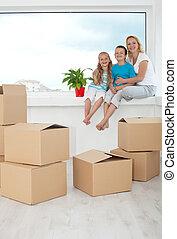 pianta, persone, loro, casa nuova, conservato vaso, felice