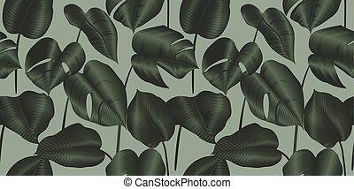 pianta, philodendron, foglie, seamless, modello, tropicale, seta