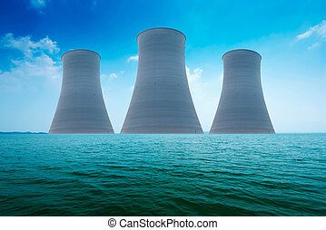 pianta potenza nucleare, su, il, coast., ecologia, disastro, concept.