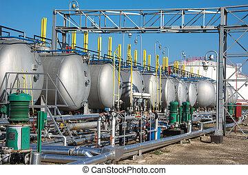 pianta, prodotto petrochimico, gas, serbatoi