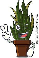 pianta, serpenti, otri, due, piantato, dito, cartone animato