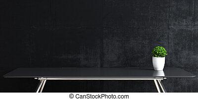 pianta, su, stare in piedi, beffare, tavola, fronte, spazio, concreto, lavoro, nero, parete