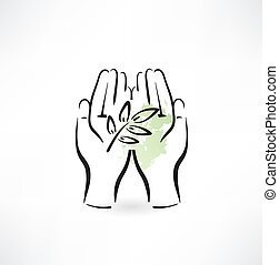 pianta, titolo portafoglio mano, icona