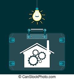 pianta, trasporto industriale, stanza, luce, sotto, production., scuro, parti, ingranaggi, valigia, activity., bulb., illegale