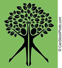 pianta verde, albero, logotype