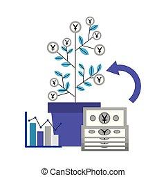 pianta, yen, profitto, scambio soldi, straniero, diagramma