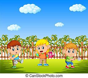 piantatura, bambini, giardino, cornfield, presa a terra, attrezzi, felice