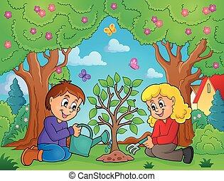piantatura, bambini, immagine, albero, tema, 2