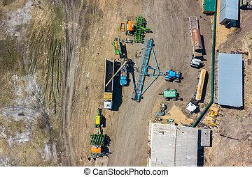 piantatura, camion, blue., vista superiore, verde, trattore, agricoltura., combinare, macchinario, villaggio, carburante, agricolo, harvesting., aratro, agricoltura, hangar
