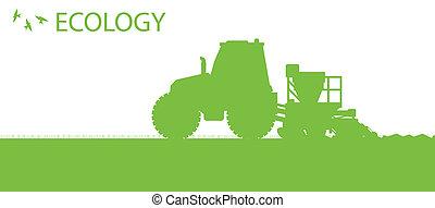 piantatura, concetto, organico, raccolti, manifesto, campo, vettore, ecologia, fondo, seminatrice, agricoltura, trattore